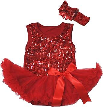 Birthday 1ST British Heart Red Bodysuit Girl Bling Blue Sequin Baby Dress NB-18M