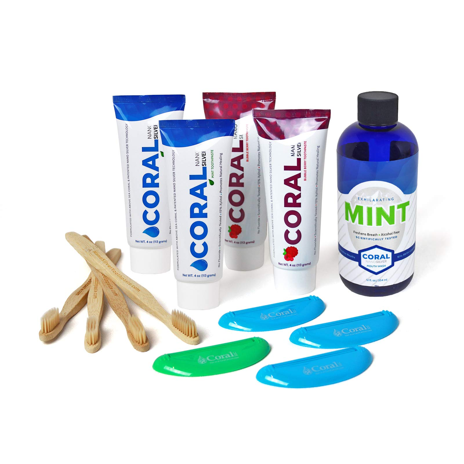 Coral White Nano Silver Toothpaste Flavor Bundle Natural Fluoride Free Teeth Whitening Toothpaste Nano Silver Mouthwash Coral Calcium Nano Silver Infused SLS Free