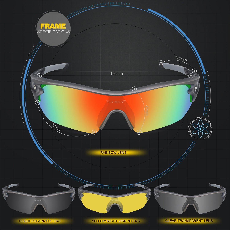 Torege TR002 - Lunettes de soleil polarisées mixtes pour sport, cyclisme, course à pied, pêche, golf, White&Black