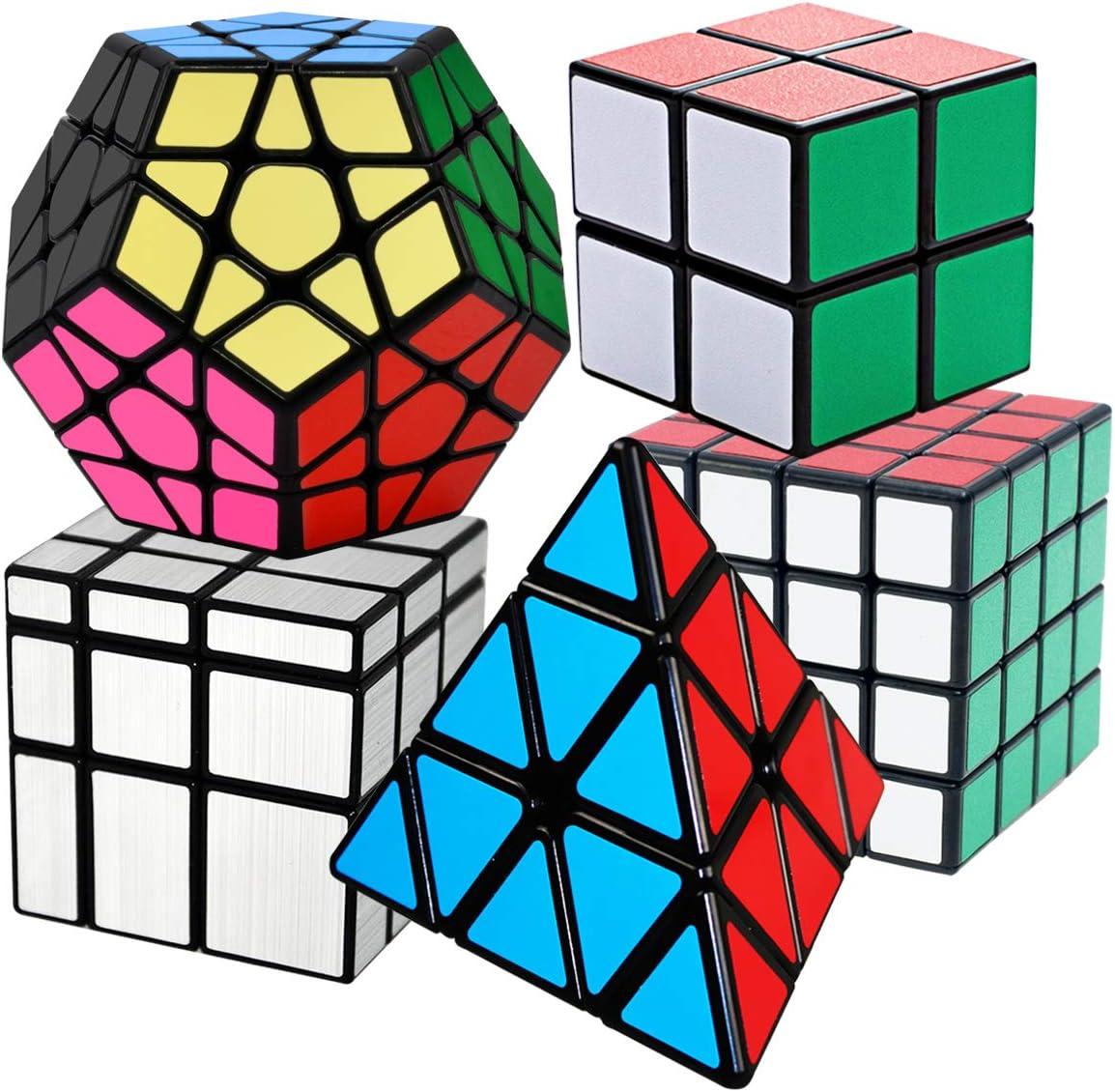 COOJA Cubo Mágico Pack, Speed Magic Cube 2x2x2 + 4x4x4 + Pyraminx + Megaminx + Cubo Espejo, Velocidad Rompecabeza Cubos con Easy Turning