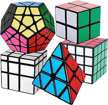 Cooja Cubo Mágico Pack, Speed Magic Cube 2x2x2 + 4x4x4 + Pyraminx + Megaminx + Cubo Espejo, Velocidad Rompecabeza Cubos con Easy Turning: Amazon.es: Juguetes y juegos