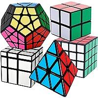 Cooja Cubo Mágico Pack, Speed Magic Cube 2x2x2 + 4x4x4 + Pyraminx + Megaminx + Cubo Espejo, Velocidad Rompecabeza Cubos…