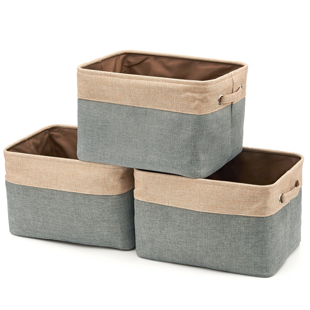 Collapsible Storage Bin Basket [3-Pack] EZOWare Foldable Canvas Fabric Tweed Storage Cube Bin Set With Handles - Brown/Gray For Home Office Closet