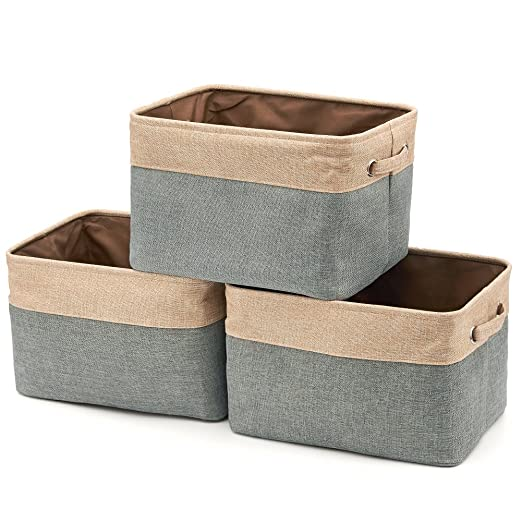 Amazon.com: Collapsible Storage Bin Basket [3 Pack] EZOWare Foldable Canvas  Fabric Tweed Storage Cube Bin Set With Handles   Brown / Gray For Home  Office ...