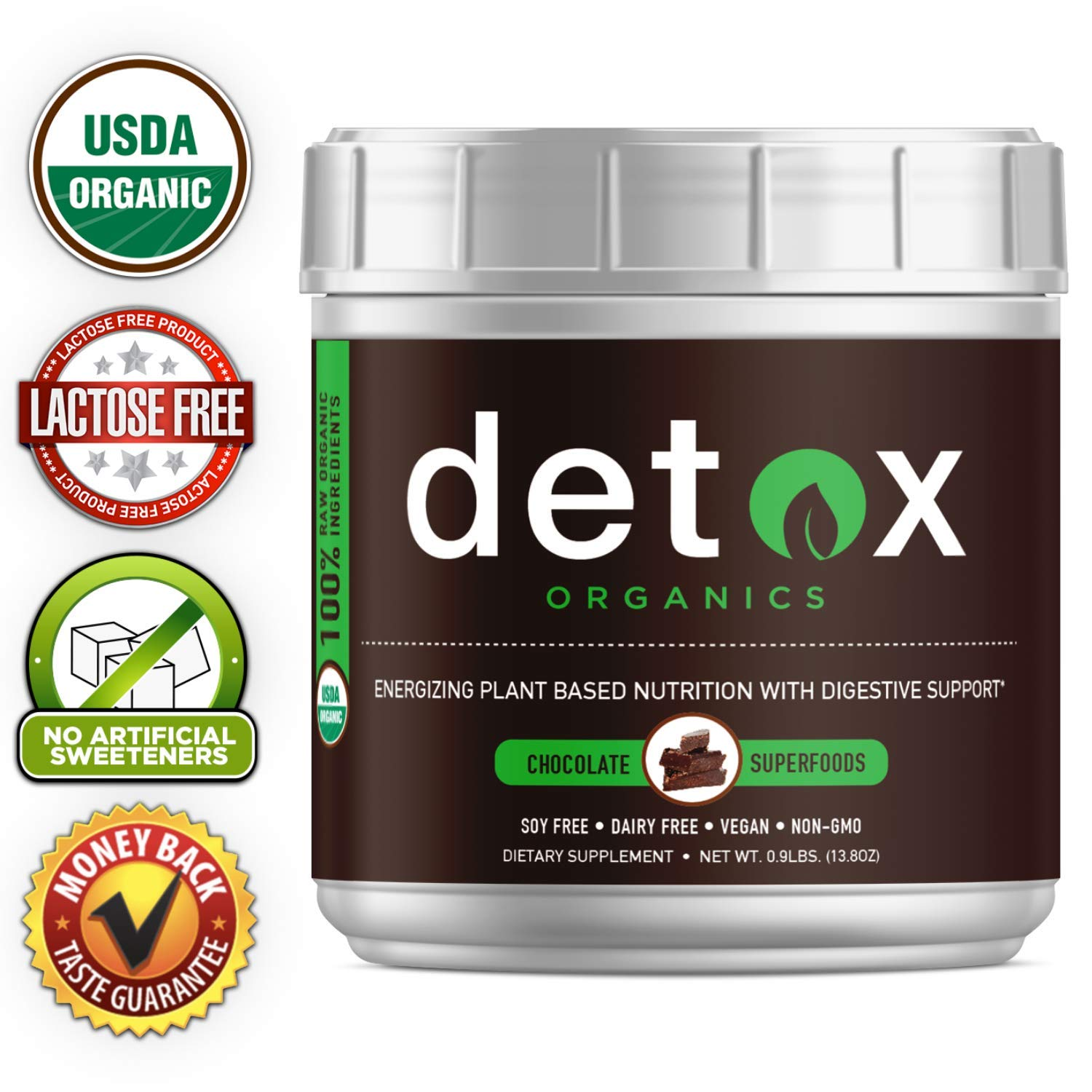 Chocolate Greens SUPERFOOD Powder, Amazing Taste, Organic Super Food Green Daily Vegetable Juice Smoothie Drink Supplement with Wheatgrass and 25+ Superfoods by Detox Organics by Detox Organics