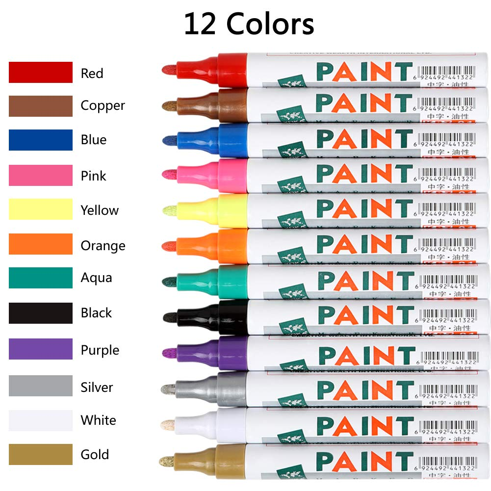 Paint Pens for Rock Painting-Stone,Metal, Glass, Wood, Fabric, Set of 12 Vibrant Colors Medium Tip Acrylic Paint Markers High Volume Ink Water and Fade Resistant for DIY Craft Projects Quick Drying