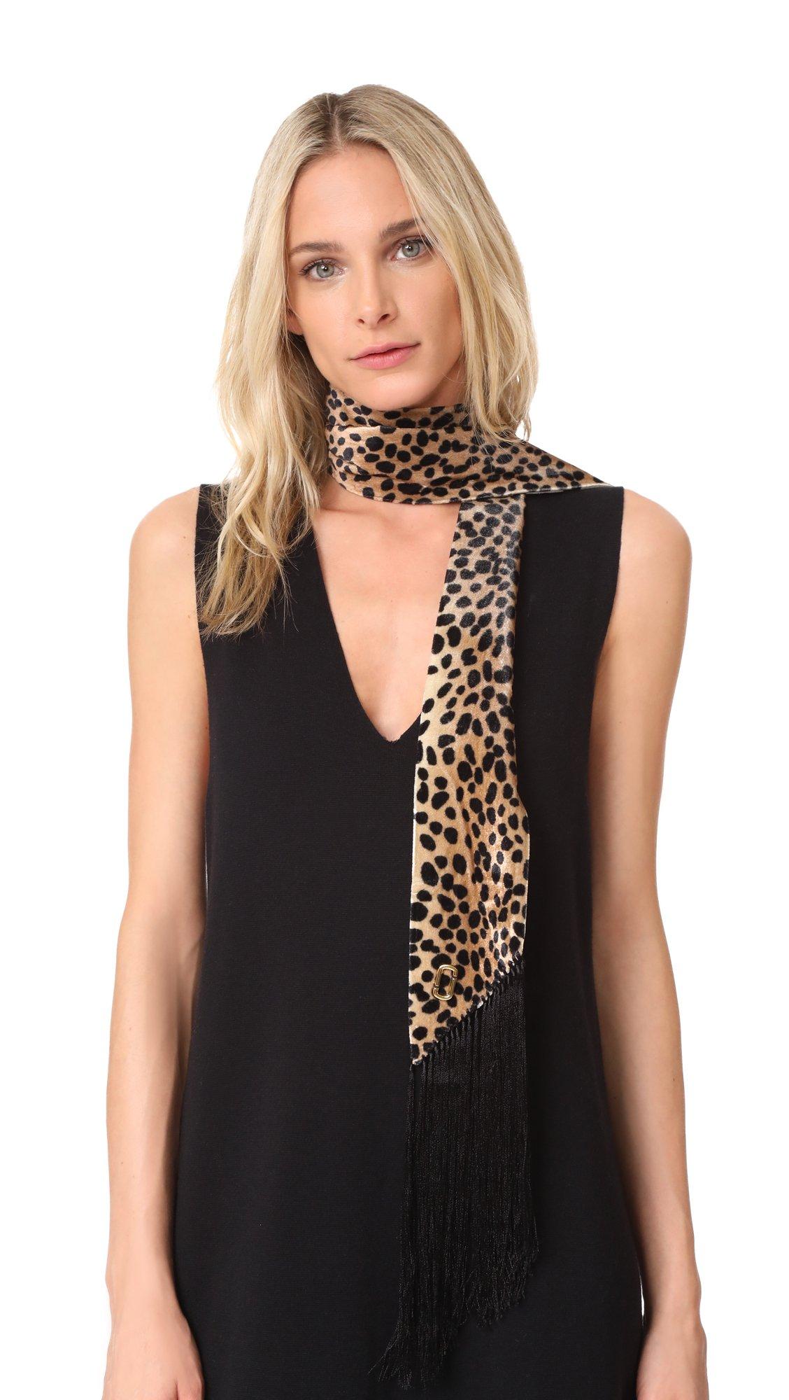 Marc Jacobs Women's Animal Print Velvet Scarf, Camel Multi, One Size