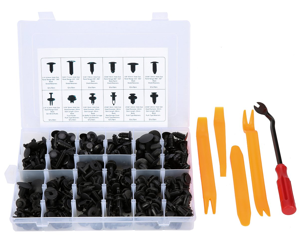 8milelake 240Pcs Push Retainer Kit Plastic Car Trim Clips Set-12 MOST Popular Sizes & 4pcs Auto Trim Removal Tool Set with Fastener Remover freebirdtrading