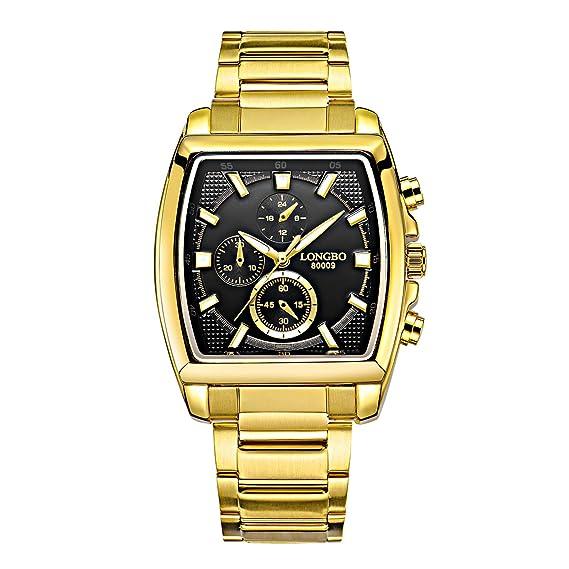Longbo oro cuadrado Deportivo Hombre Relojes Negro Cara Banda de acero inoxidable reloj de pulsera para hombre cronógrafo para decoración de: Amazon.es: ...