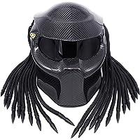 Casco Depredador De Motocicleta, Fibra De Carbono, Casco Completo Desmontable Y Lavable Casco De Guerrero Masculino Four…