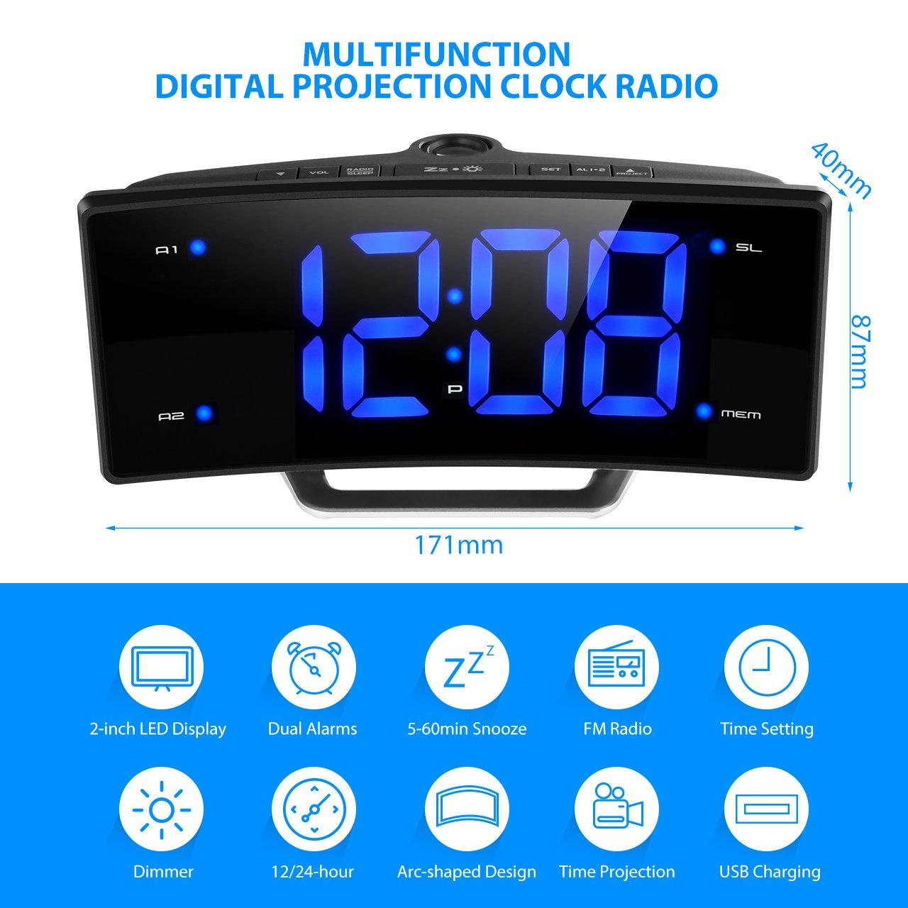 Radio Despertador Digital con Proyector de Mpow, Reloj de Alarma de Proyección de FM con Alarmas Dobles,Reloj de Techo Digital con Puerto de Carga USB, ...