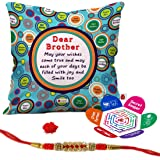 """Indigifts Bro May All Your Wishes Come True Quote Printed Cushion Cover 12""""X12"""" With Filler, Crystal Rakhi, Roli, Chawal, Greeting Card"""
