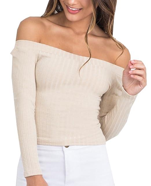 Herbst Winter Bustier bauchfrei Oberteile Damen Einfarbig Wort Schulter  Crop T-Shirt Tops Reizvolle Schulterfrei Bolero Pulli Langarm Pullover  Blouse ... d4d83c4a4e