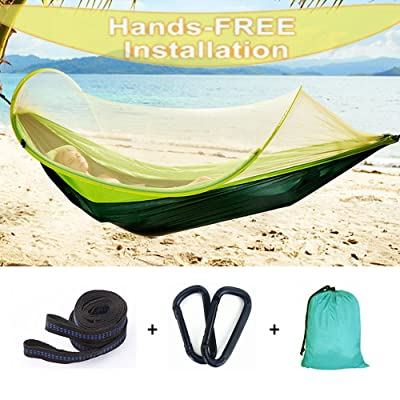 Hann Camping Hammock, Portable Camping Hammock with Mosquito Net Parachute Nylon Fabric Lightweight Hammock for Beach, Traveling, Hiking, Mountain,Adventure,Outdoor Jungle (Green): Sports & Outdoors