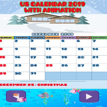 Amazon Com Us Calendar With Animation And Holidays 2019 Appstore