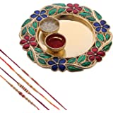 Mela Set of 4 Rakhi with Pooja Plate and Kumkum Chawal for Men (Multicolour)