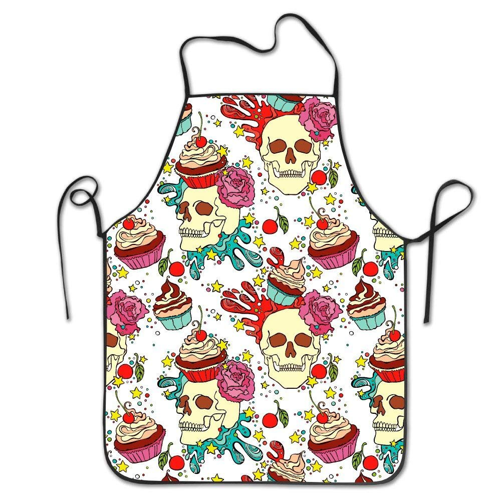 pigyear888 Skull Cupcake Adjustable Apron For Kitchen Garden Cooking Grilling Lady' s Men's Great Gift For Wife Ladies Men Boyfriend