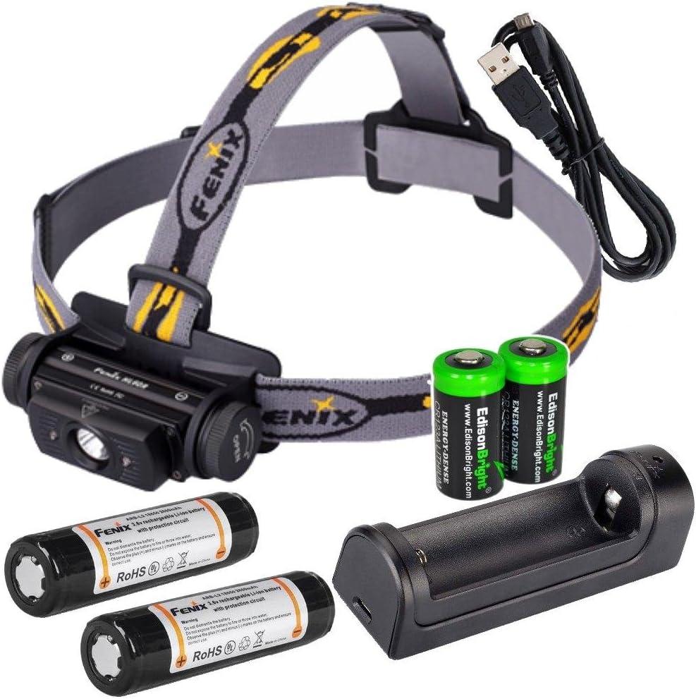 EdisonBright Fenix HL60R 950 Lumen USB rechargeable CREE XM-L2 T6 LED Headlamp, 2 X Fenix 18650 rechargeable Li-ion batteries,ARE-X1 charger with 2 X CR123A back-up batteries bundle