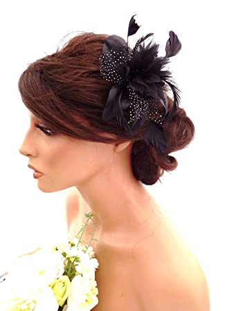3f8da3db Feather and Flower Hair comb slide Fascinator with Glittery Spotty net  Bridal Wedding Races Prom (Black) by Inca: Amazon.co.uk: Health & Personal  Care