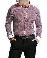LeNG Slim Men Dress Shirt Business Formal Men's Shirts Long Sleeve Cufflinks Shirts Men Social Slim Fit Striped Camisa NEW Cool