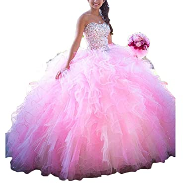 9ef00929fec0d Image not available for. Color: OkayBridal Women's Sweetheart Organza  Quinceanera Dresses Beading Princess Sweet 16 Prom Party Ball Gowns OK0090  Pink