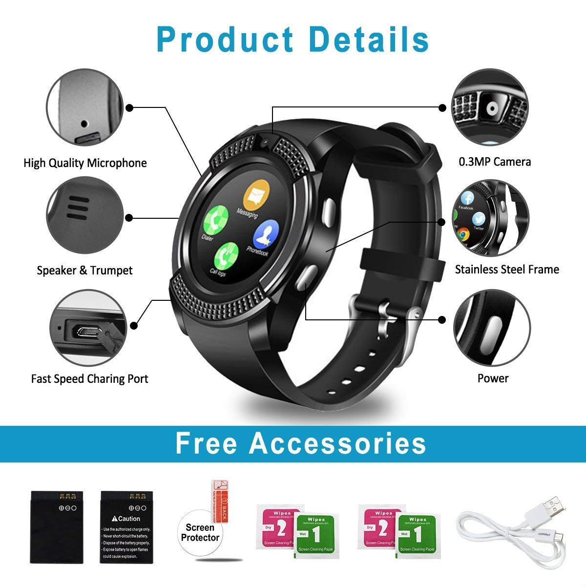Smart Watch,Bluetooth Smartwatch Touch Screen Wrist Watch with Camera/SIM Card Slot,Waterproof Phone Smart Watch Sports Fitness Tracker Compatible Android Phones Black by Topffy (Image #6)