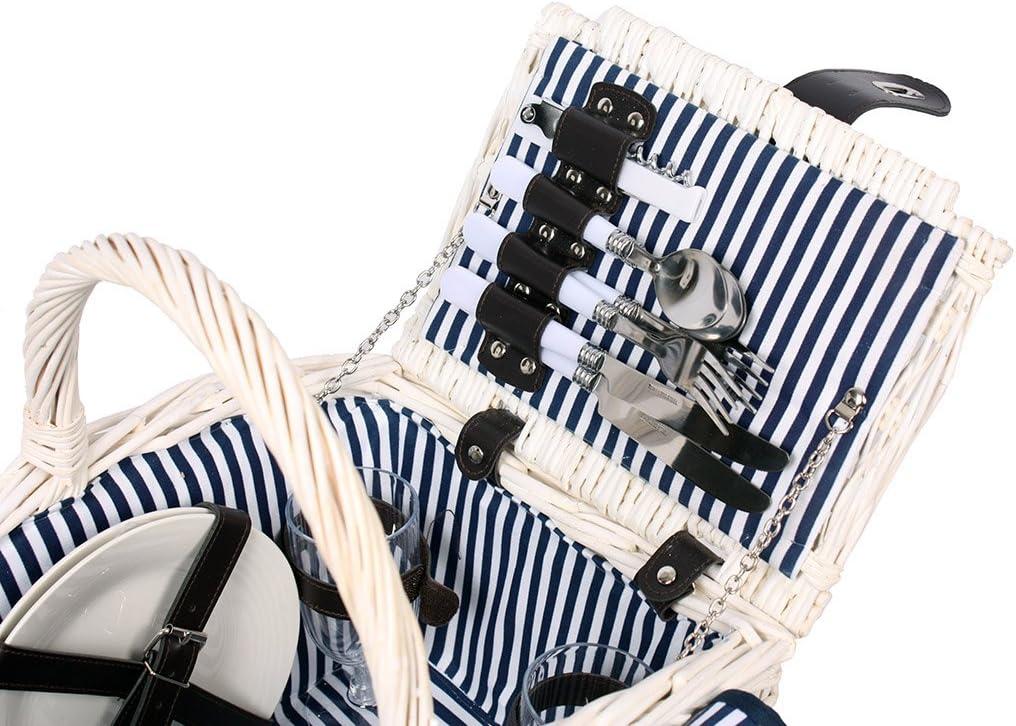 Wein Gl/äser Wei/ß Besteck 4 Personen Weiden Picknickkorb Picknickkoffer Set mit Decke Teller