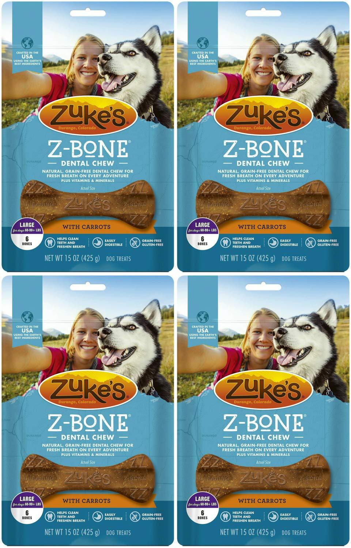 Zuke's Z-Bone Dog Dental Chew with Carrots, Large, 6 Count, 4 Pack by Zuke's (Image #2)
