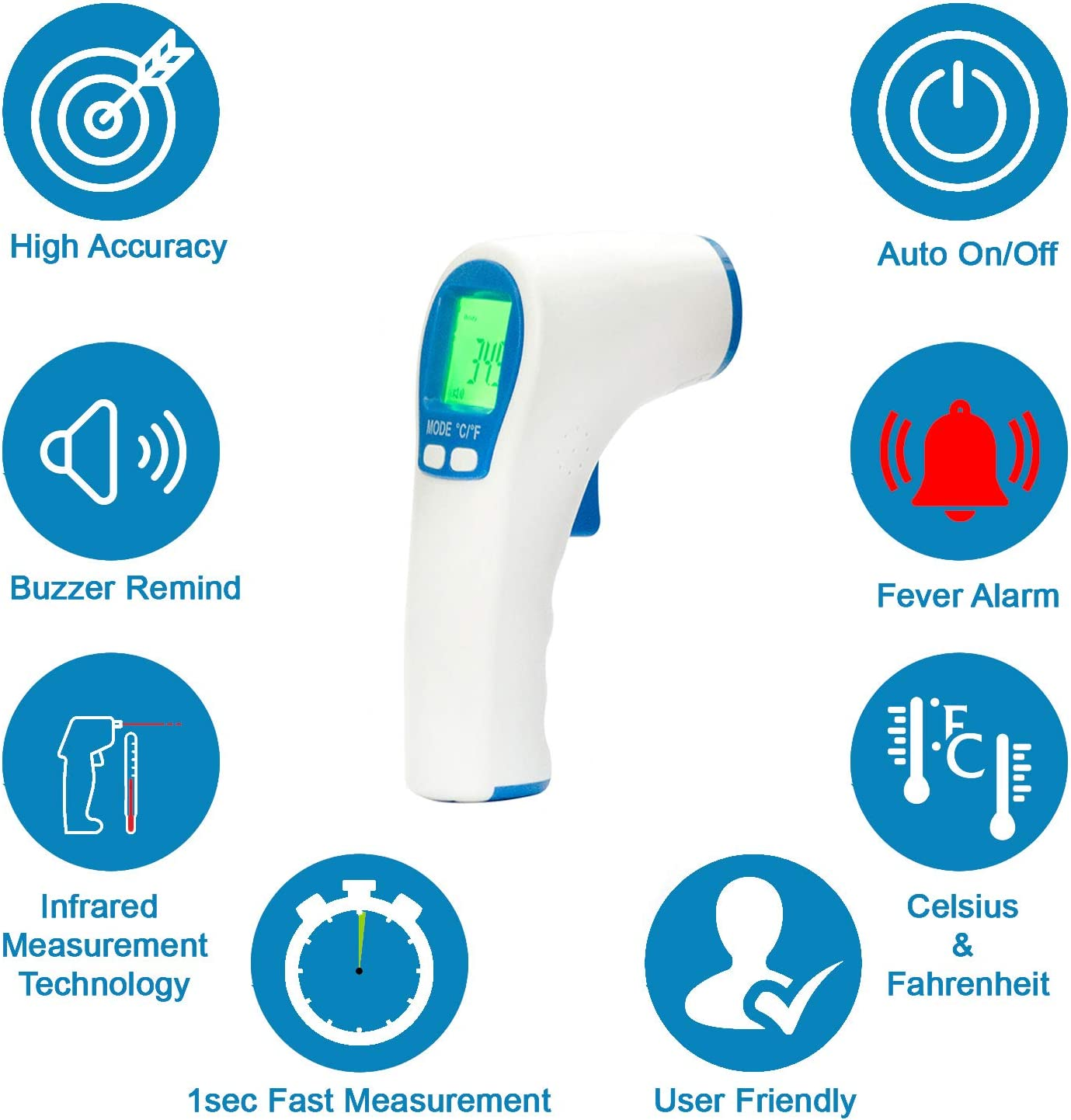 Scure Infrared Forehead Non Contact Thermometer with Color Coded Fever Indicator (Color may Vary)