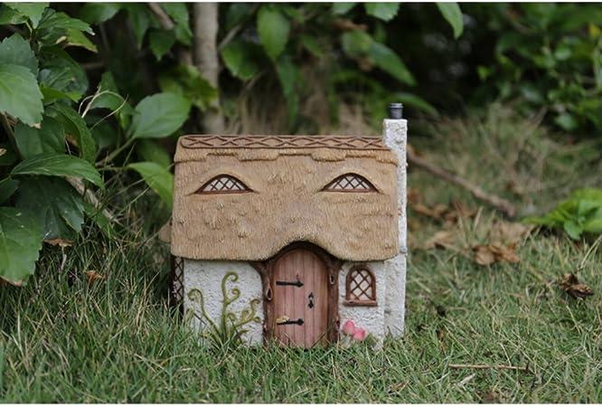 Fairy Garden House with Leaf Roof and Stars Solar LED Light Miniature Decor New