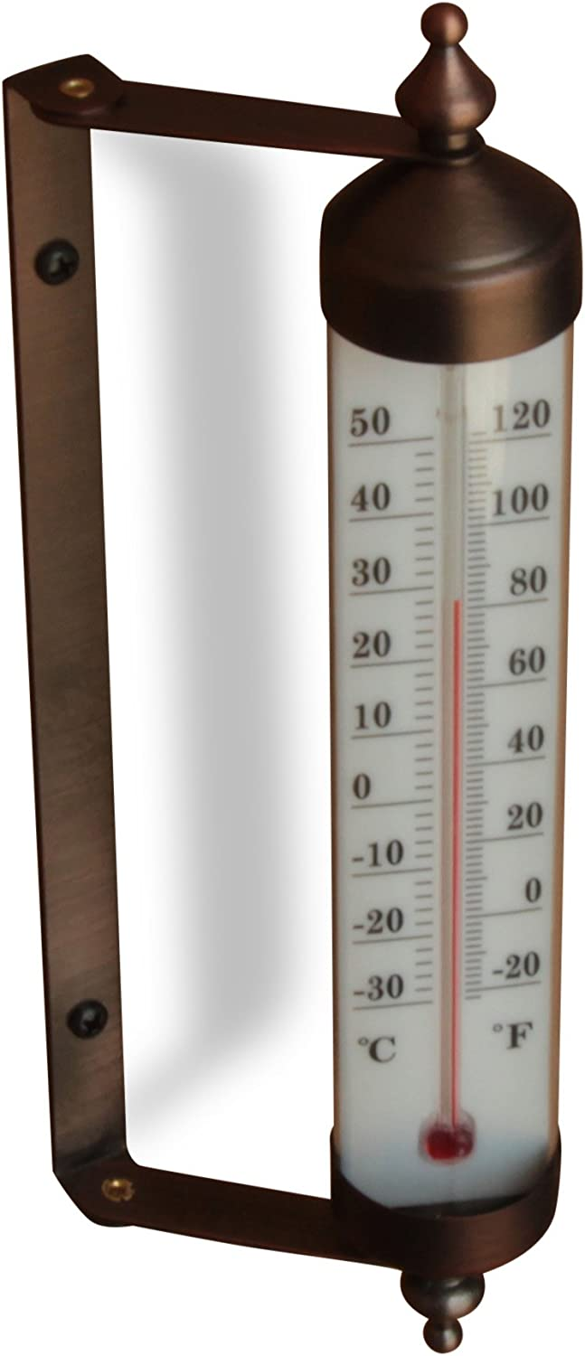 Bjerg Instruments Antique Brass Finish Adjustable Angle 10 Inch Garden Thermometer