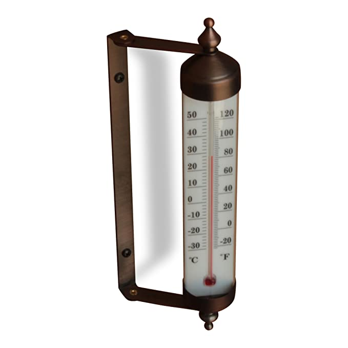 Amazon.com : Bjerg Instruments Antique Brass Finish Adjustable Angle 10 Inch Garden Thermometer : Garden & Outdoor