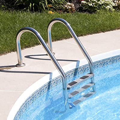 HAPPYGRILL 3-Step Stainless Steel Swimming Pool Step Ladder, Weight Capability 330 lbs : Garden & Outdoor
