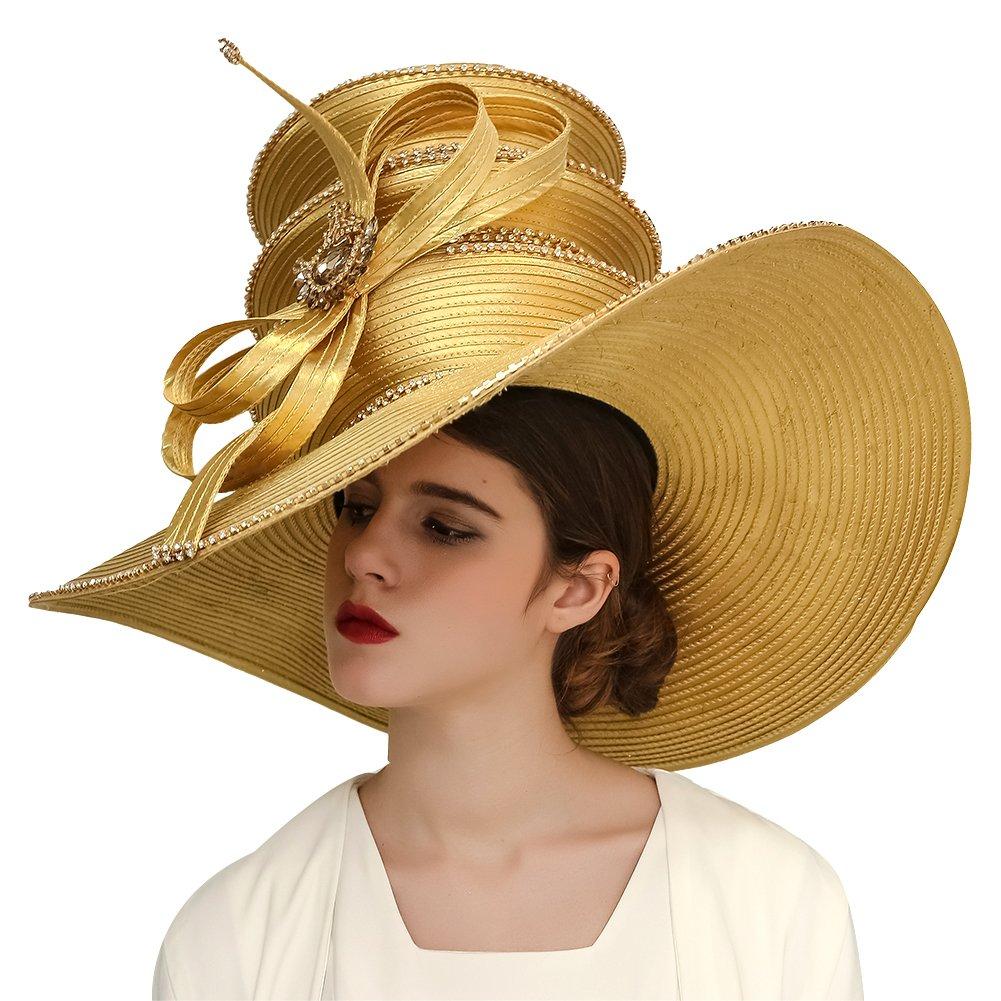 Kueeni Women Hats Church Hats Exaggeration Designer Fashion Lady Wide Brim Hats (Gold)