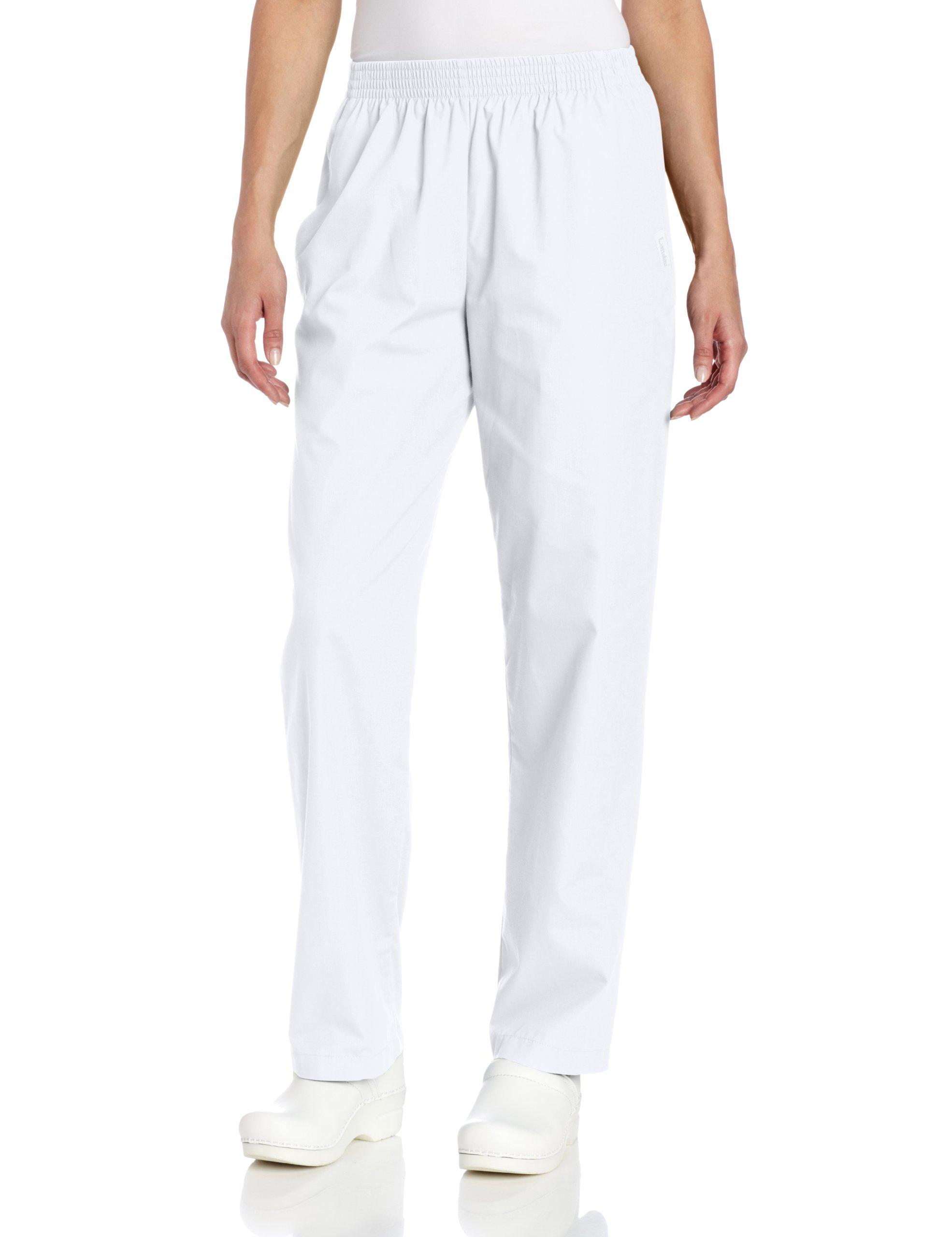 Landau Women's Classic Relaxed Scrub Pant, White, Large