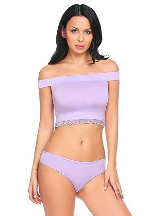 a6bc721d2 Women Sexy Off Shoulder Lace Trim Crop Top Briefs 2 Pieces Lingerie  Sleepwear Set Light Purple