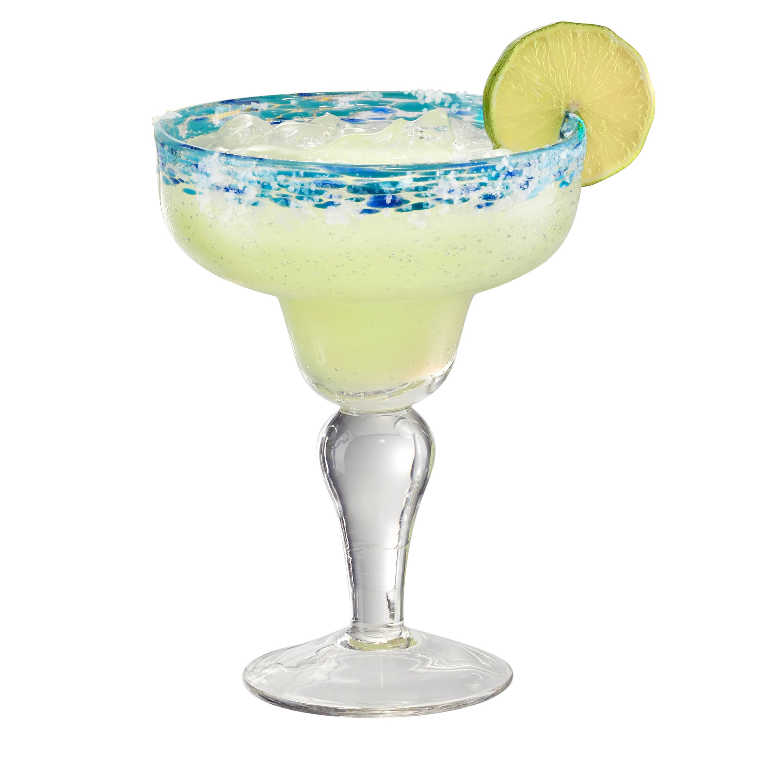 Artland Mingle Margarita Glasses (Set of 4), Turquoise Rim by ARTLAND