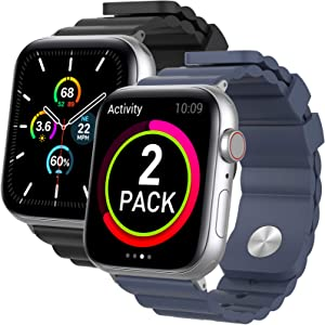 AhaStyle 2 Pack Band for Apple Watch Women Man, Breathable Silicone Wrist Strap Replacement Compatible with Apple Watch 44mm 42mm 40mm 38mm, iWatch Series SE/6/5/4/3/2/1(Black+Midnight Blue, 38mm/ 40mm)