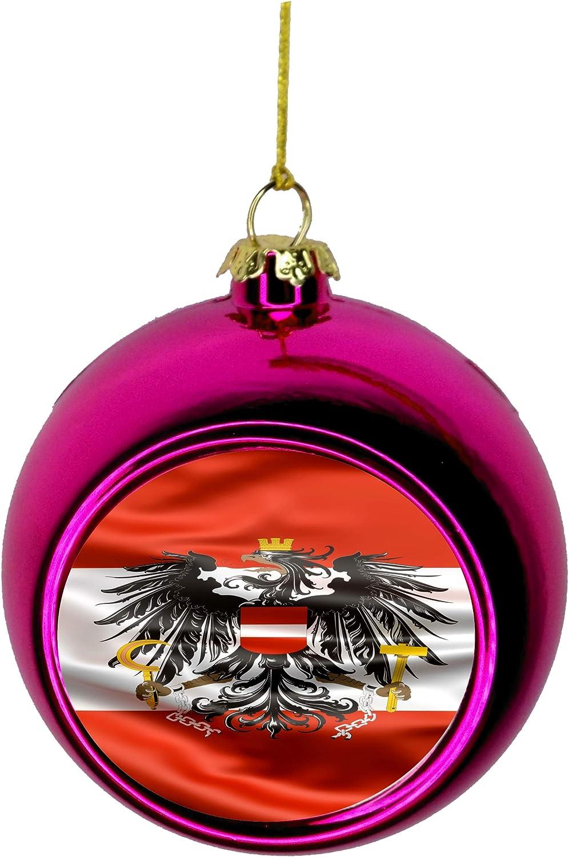 Lea Elliot Inc Austria Flag Waving Austrian Flag Bauble Christmas Ornaments Pink Bauble Tree Xmas Balls Home Kitchen