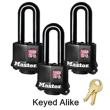 6169db2a6650 Master Lock 3 Keyed Alike Padlocks w/Thermoplastic Coating - Model ...