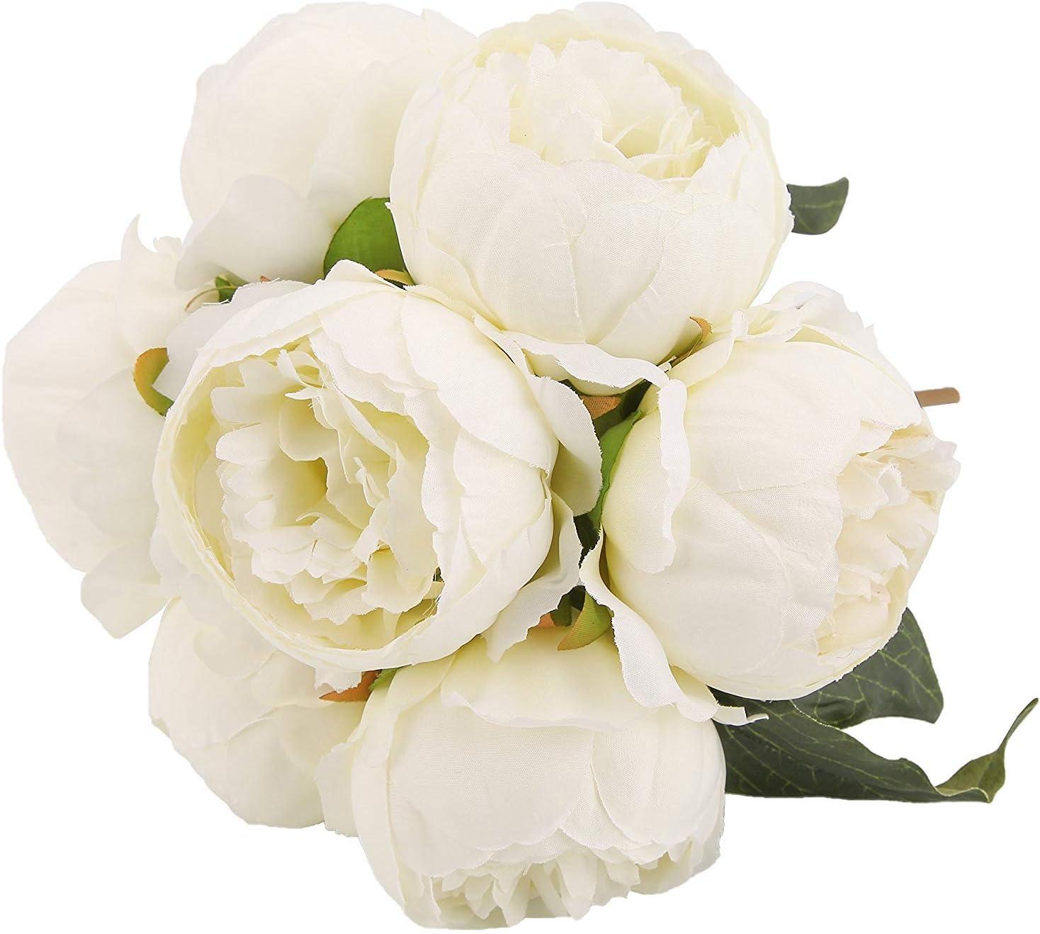 Louiesya Artificial Fake Flowers Peony Plants Silk Flower Arrangements Wedding Bouquets Decorations Plastic Floral Table Centerpieces Home Kitchen Garden Party Décor, White