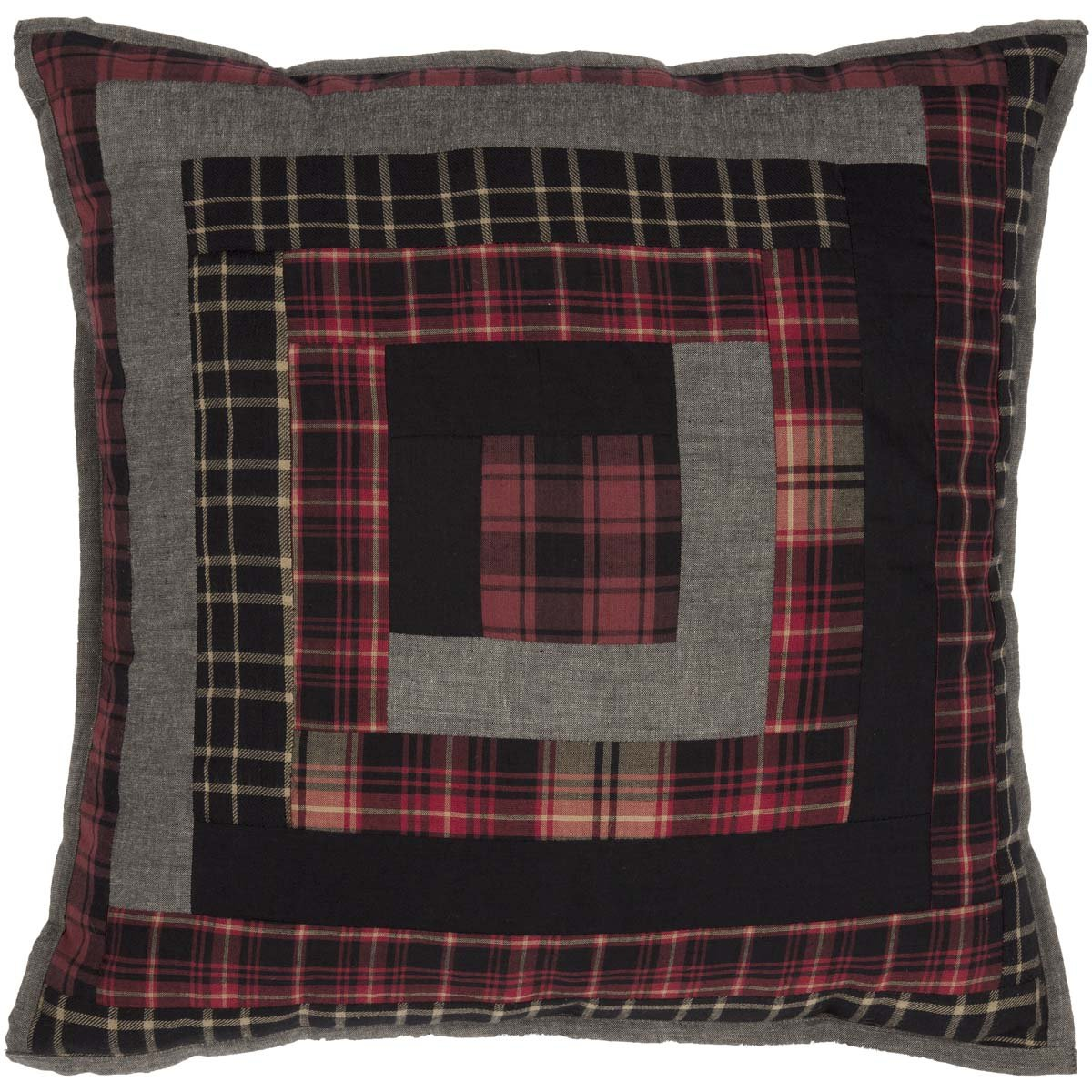 """VHC Brands Rustic & Lodge Pillows & Throws-Cumberland Red Patchwork 18"""" x 18"""""""