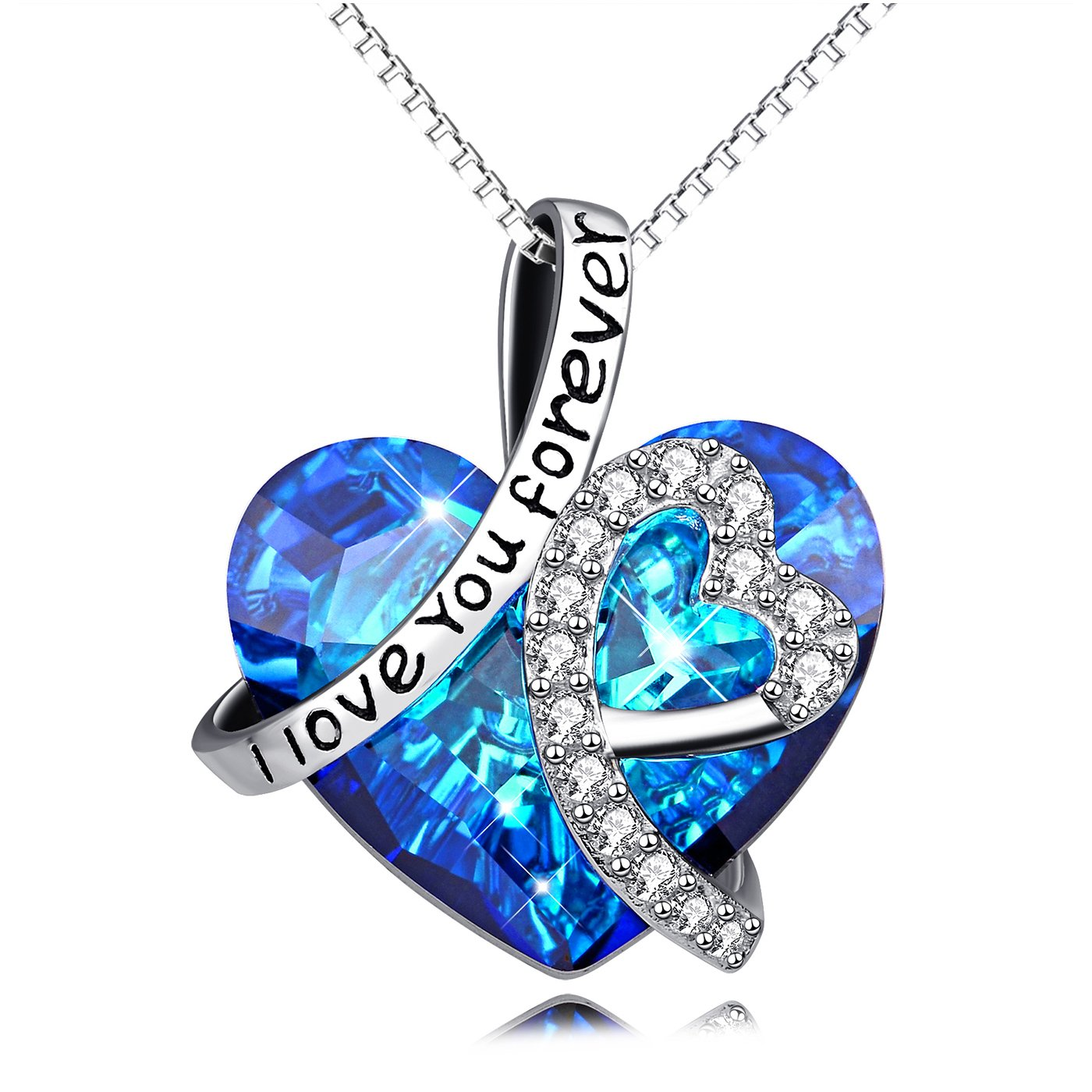 AOBOCO Heart Necklace 925 Sterling Silver I Love You Forever Pendant Necklace with Blue Swarovski Crystals Jewelry for Women Anniversary Birthday Gifts for Girls Girlfriend Wife Daughter Mom