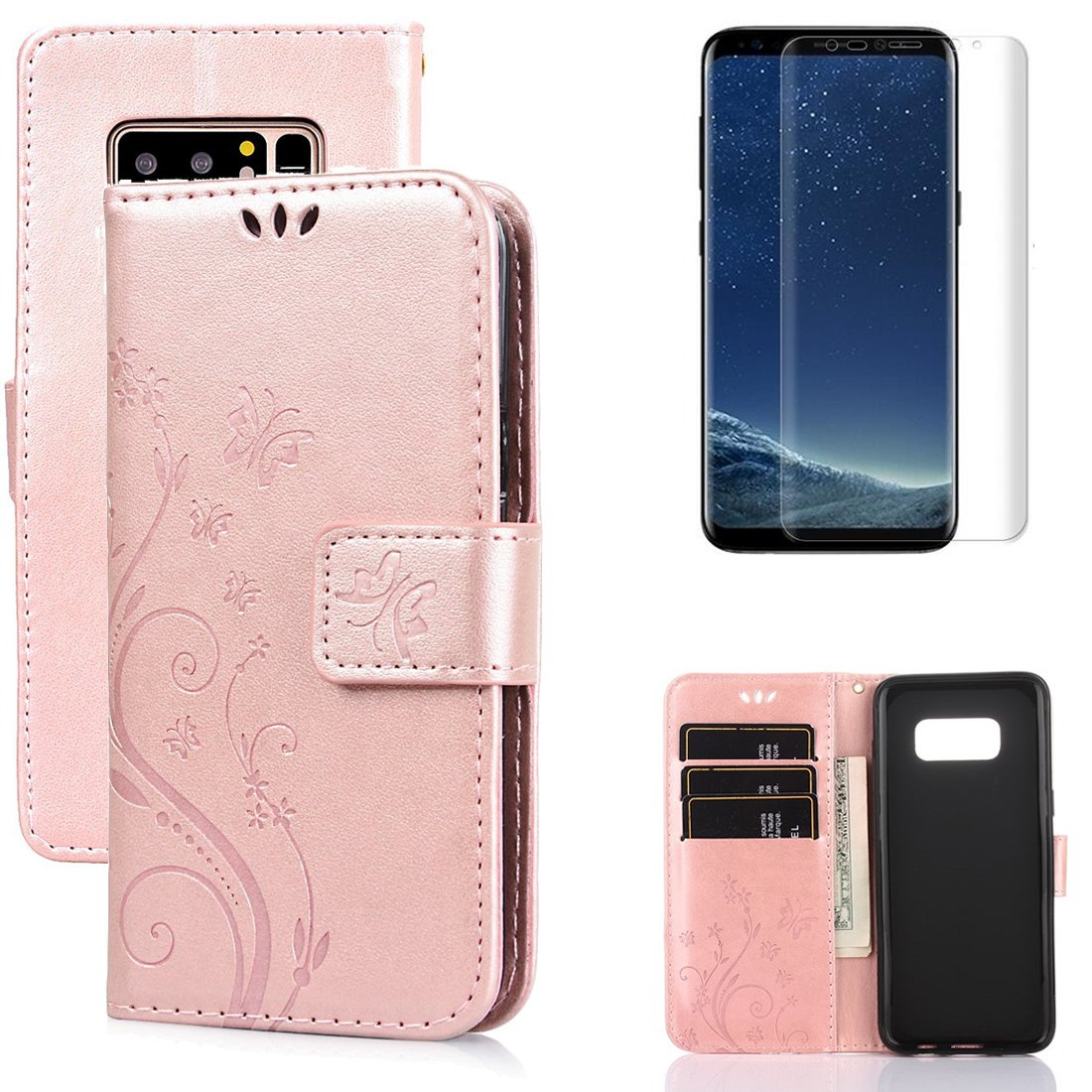 for Samsung Galaxy S8 Plus Wallet Case and Screen Protector,OYIME [Butterfly Flower Embossed] Elegant Pattern Design Leather Holster Kickstand Card Slot Function Shockproof Full Body Pretection Bumper Magnetic Flip Cover with Wrist Lanyard - Pure Blue