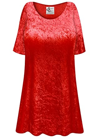 287e9441230 Red Crush Velvet Plus Size Supersize Extra Long A-Line Top at Amazon ...