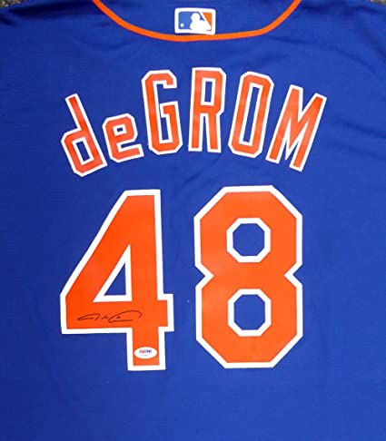 info for 29b05 23be4 New York Mets Jacob deGrom Autographed Blue Majestic Jersey ...