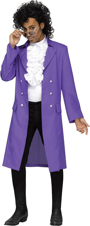 Purple Rain Prince Mens Fancy Dress 1980s Pop Icon Celebrity Adults Costume New