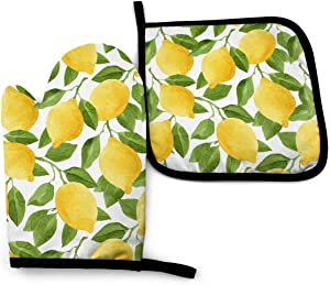 VunKo Yellow Lemon Oven Mitts and Pot Holders Sets Heat Resistant Oven Gloves with Non-Slip Surface for Safe BBQ Cooking Baking Grilling Set of 2