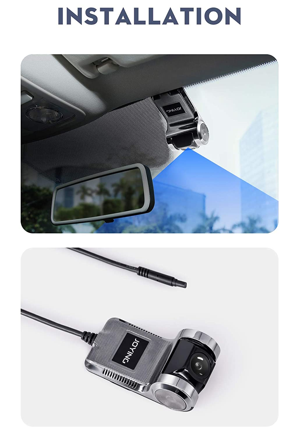 JOYING Car Dash Cam 720P Front Dash Camera 170° Wide Angle Recorder for  Android Car Stereo Support Night Version