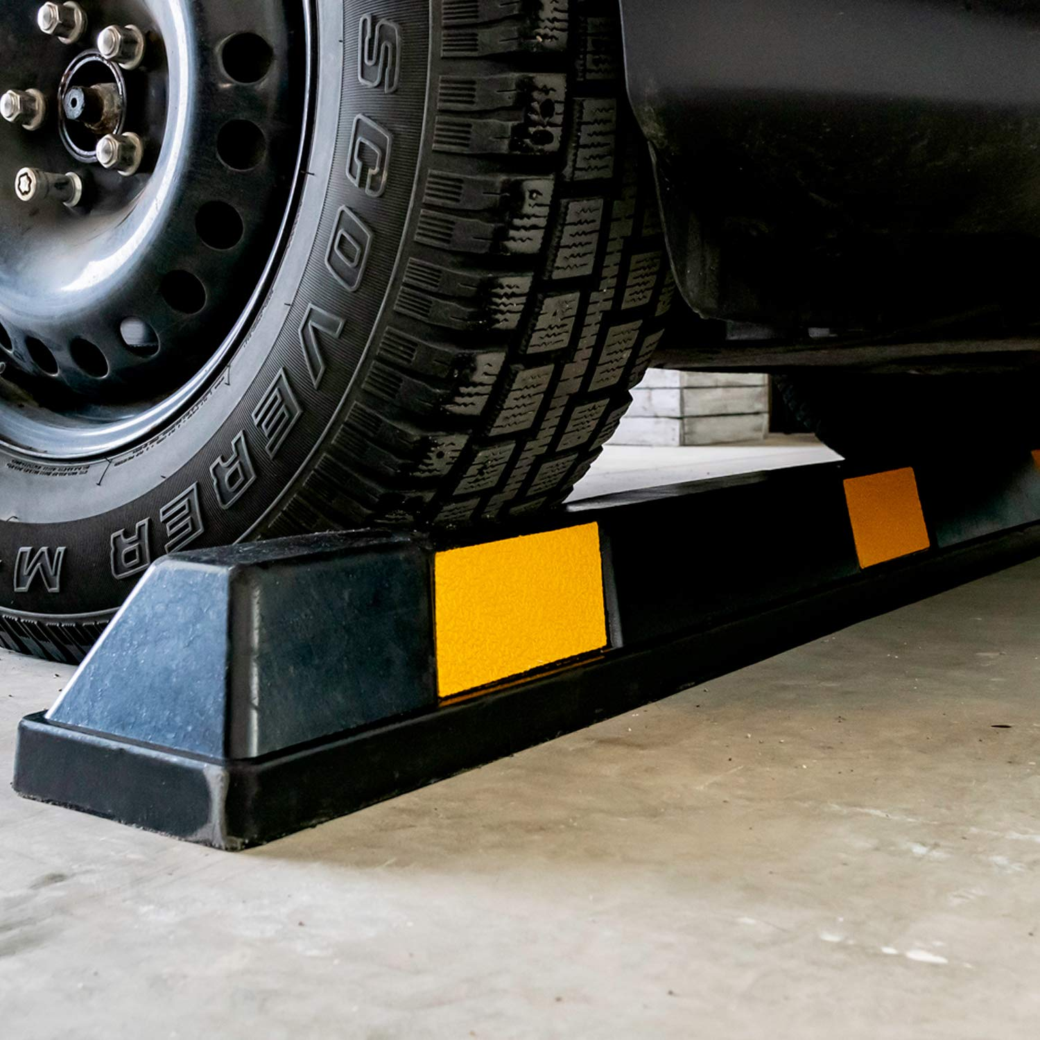 Fullstop Vehicle Parking Block, Black Commercial Heavy Duty Rubber Curb with 8 ScatterGlass Reflective Yellow Targets for Car, Truck, RV and Trailer Stop Aid, 72 Inches Long x 4 Inches High by Fullstop (Image #2)